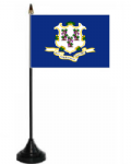 Connecticut Desk / Table Flag with plastic stand and base.